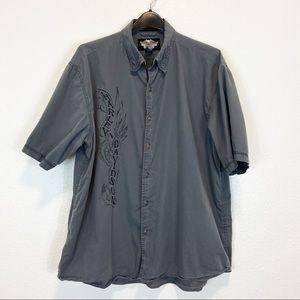 Harley Davidson Gray Short Sleeve Button Up XL
